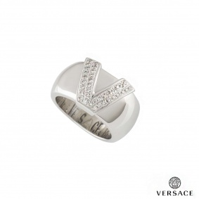 Versace 18k White Gold Ring
